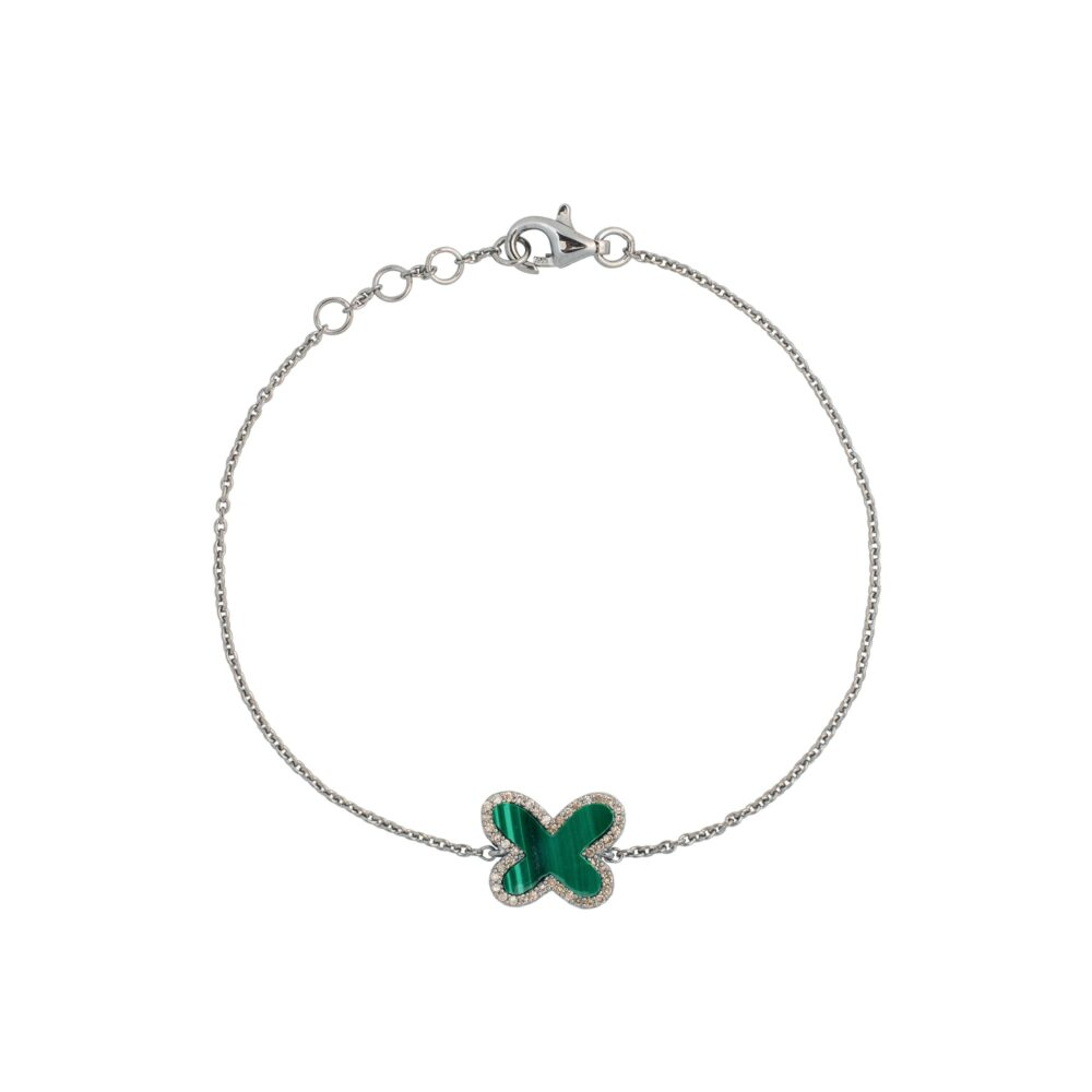 Diamond Mini Malachite Butterfly Bracelet Sterling Silver