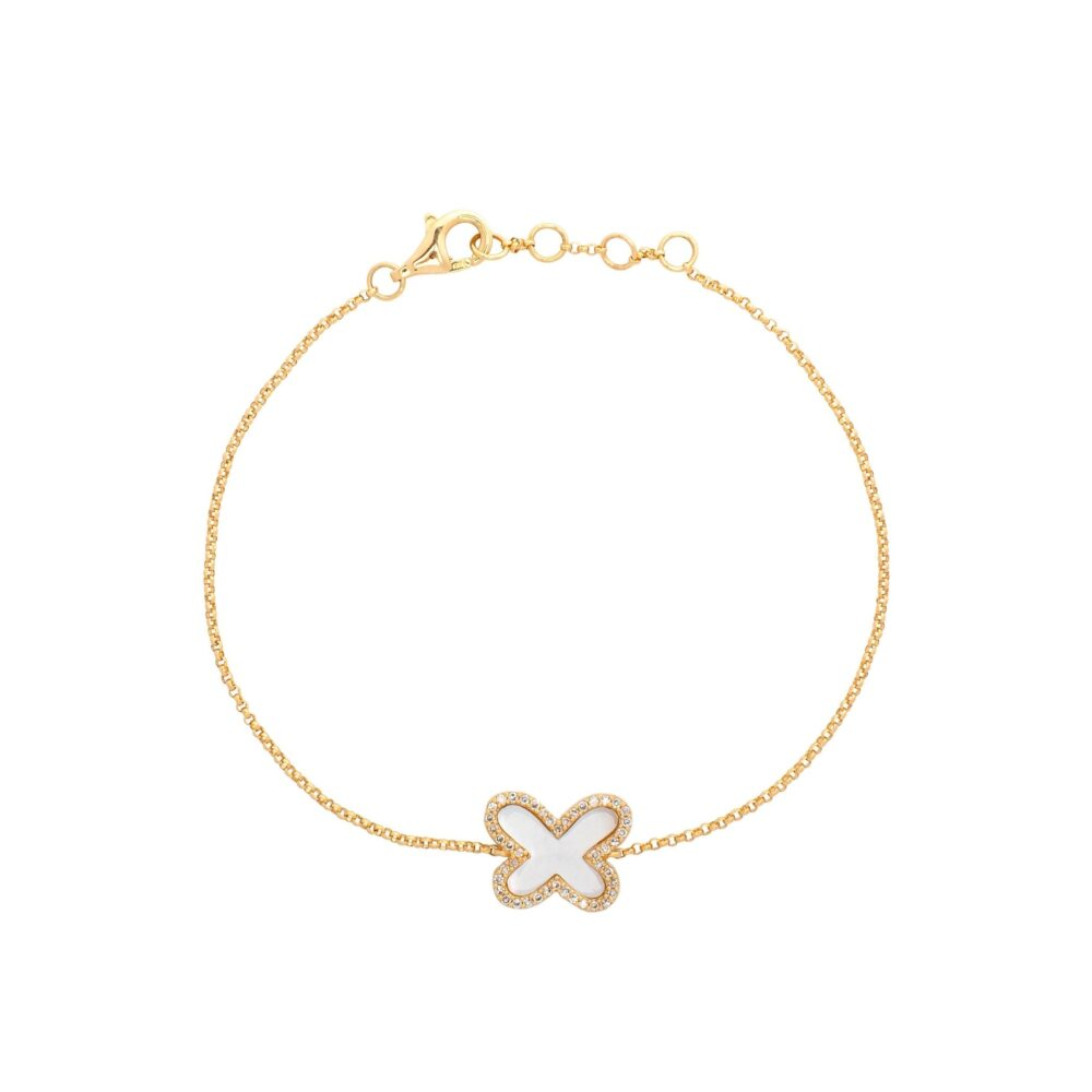 Diamond Mini Mother of Pearl Butterfly Bracelet Yellow Gold