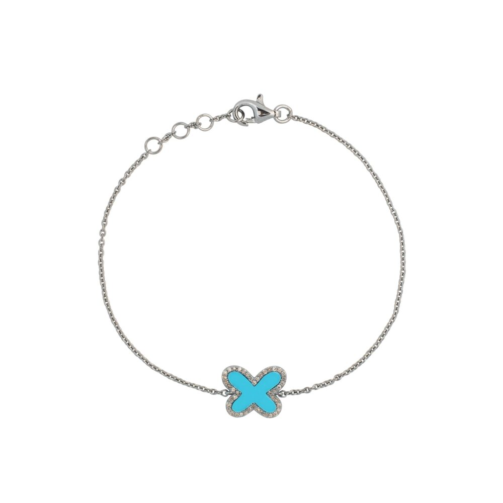 Diamond Mini Turquoise Butterfly Bracelet Sterling Silver