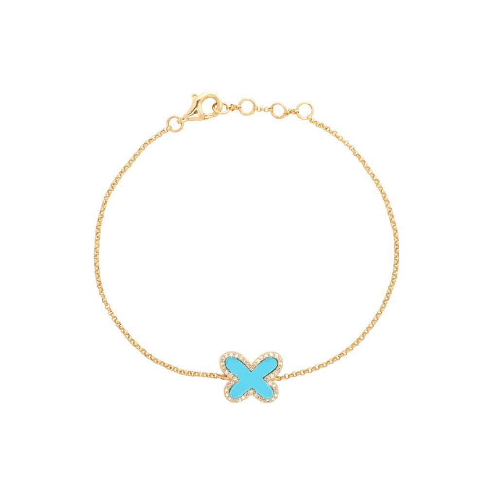 Diamond Mini Turquoise Butterfly Bracelet Yellow Gold