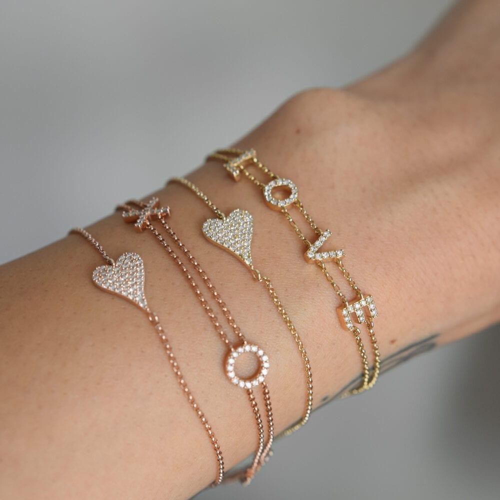 Diamond Modern Heart Chain Bracelet