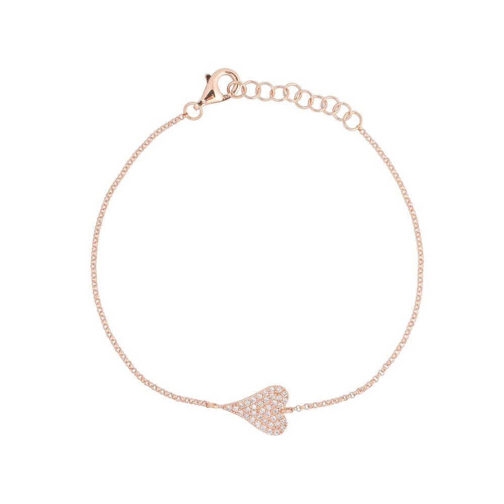 Diamond Modern Heart Chain Bracelet Rose Gold