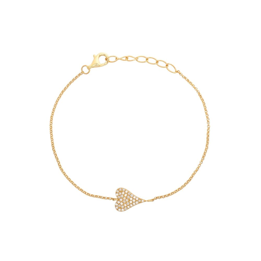 Diamond Modern Heart Chain Bracelet Yellow Gold