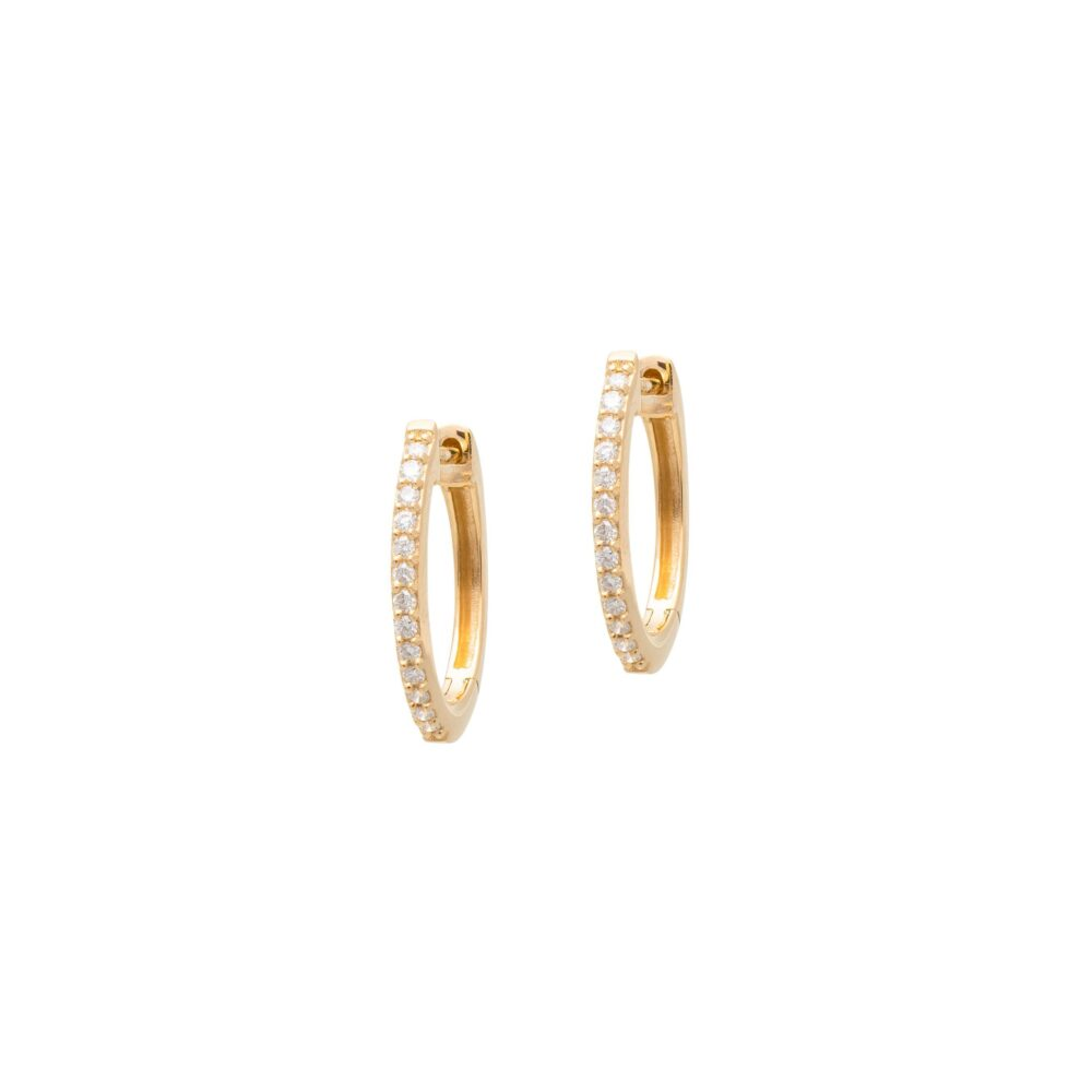 Diamond Oval Huggie Hoops 14k Yellow Gold