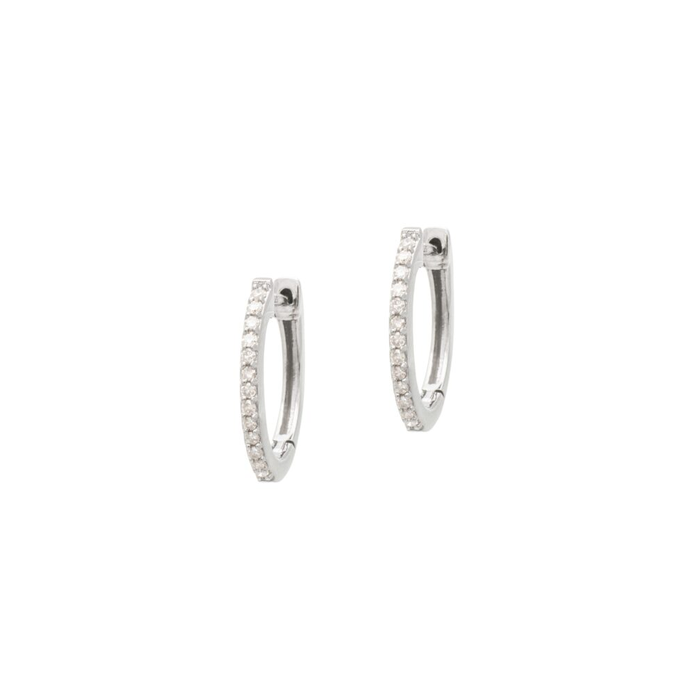 Diamond Oval Huggie Hoops Rhodium Sterling Silver