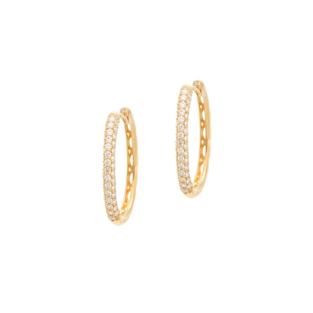 Diamond Oval Pave Hoop Earrings Yellow Gold