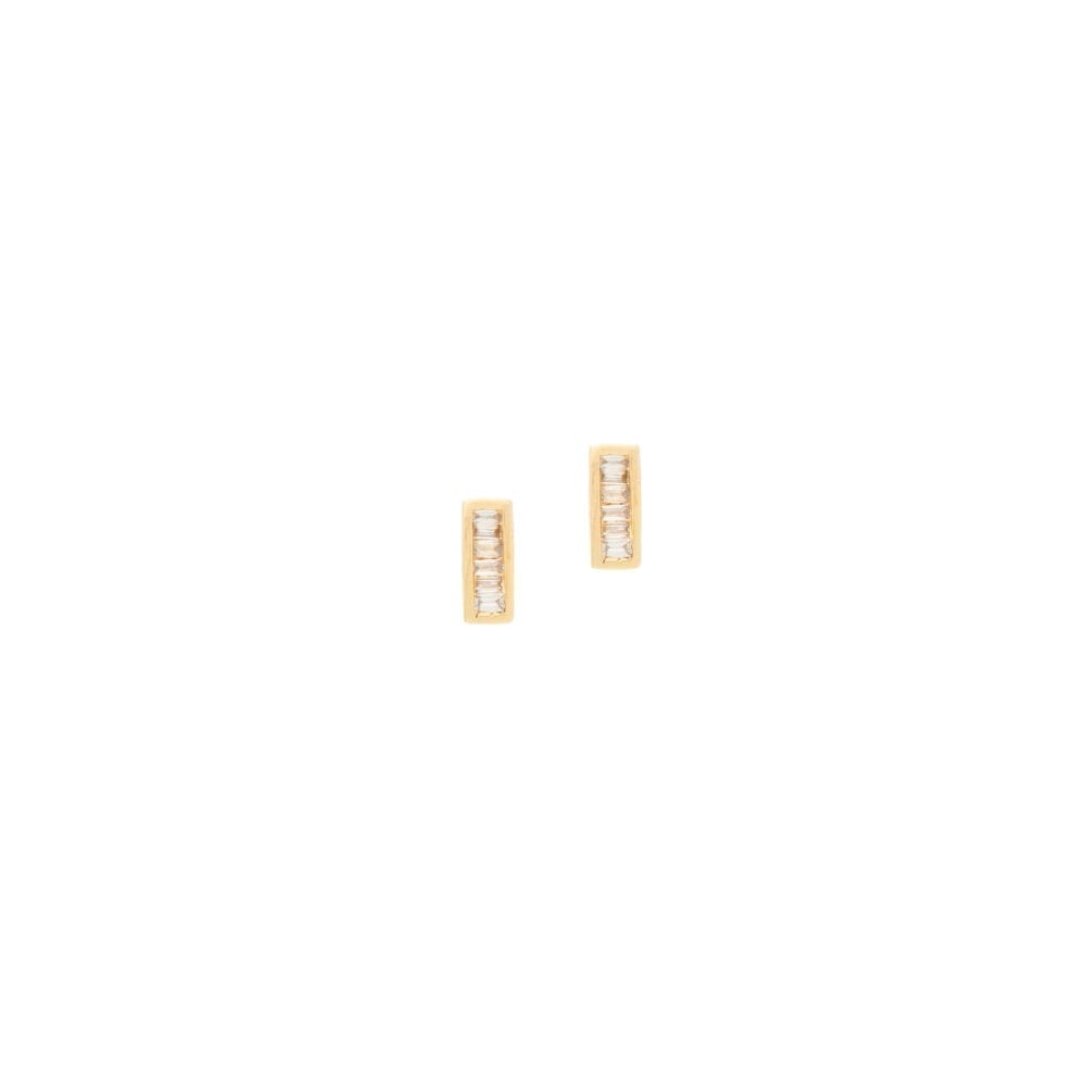 Diamond Rectangle Baguette Earrings Yellow Gold