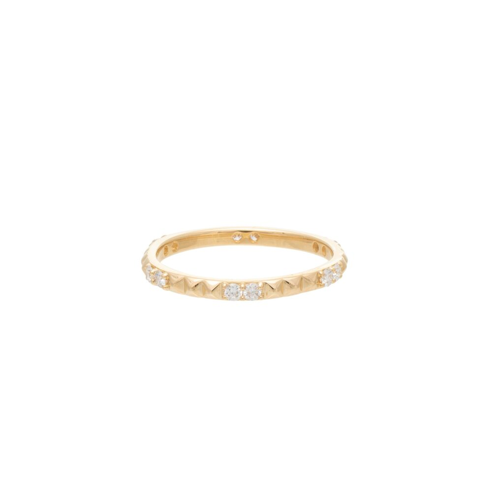 Diamond Rock Studded Eternity Band 14k Yellow Gold