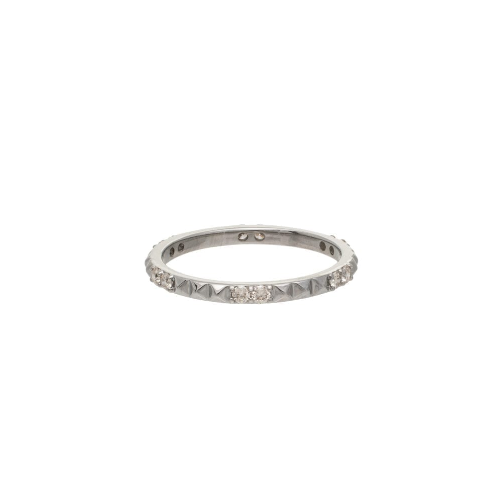Diamond Rock Studded Eternity Band Sterling Silver