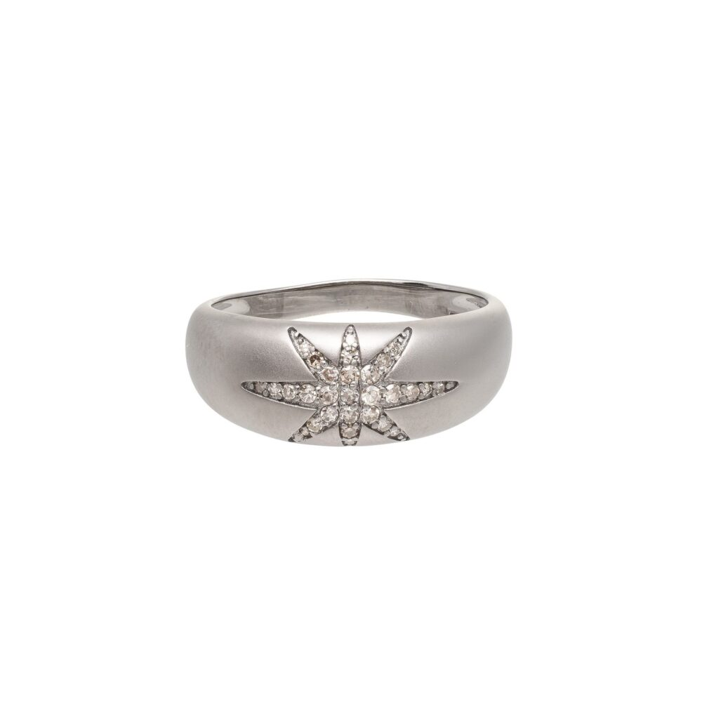 Diamond Starburst Dome Ring Sterling Silver