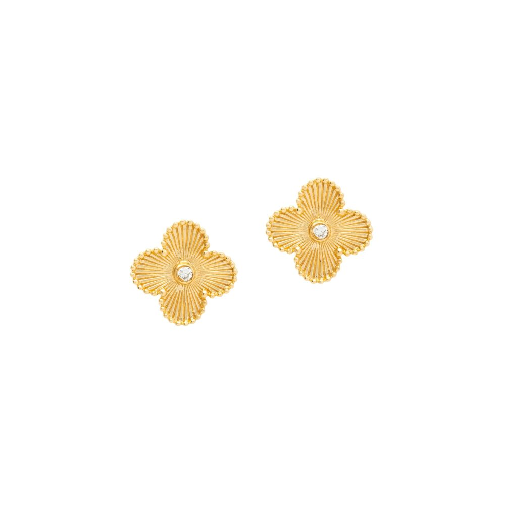 Medium Flower with Diamond Earrings Yellow Gold