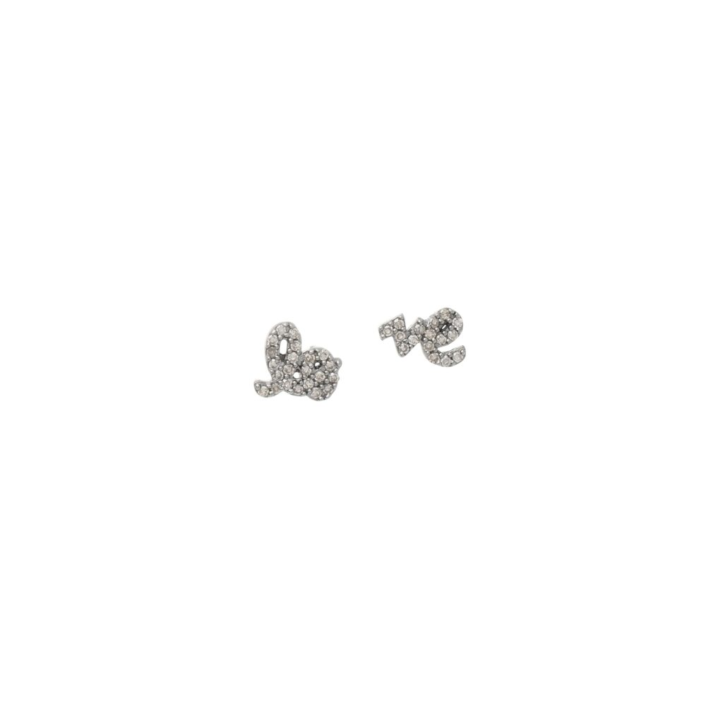 Mini Diamond Love Script Stud Earrings Sterling Silver