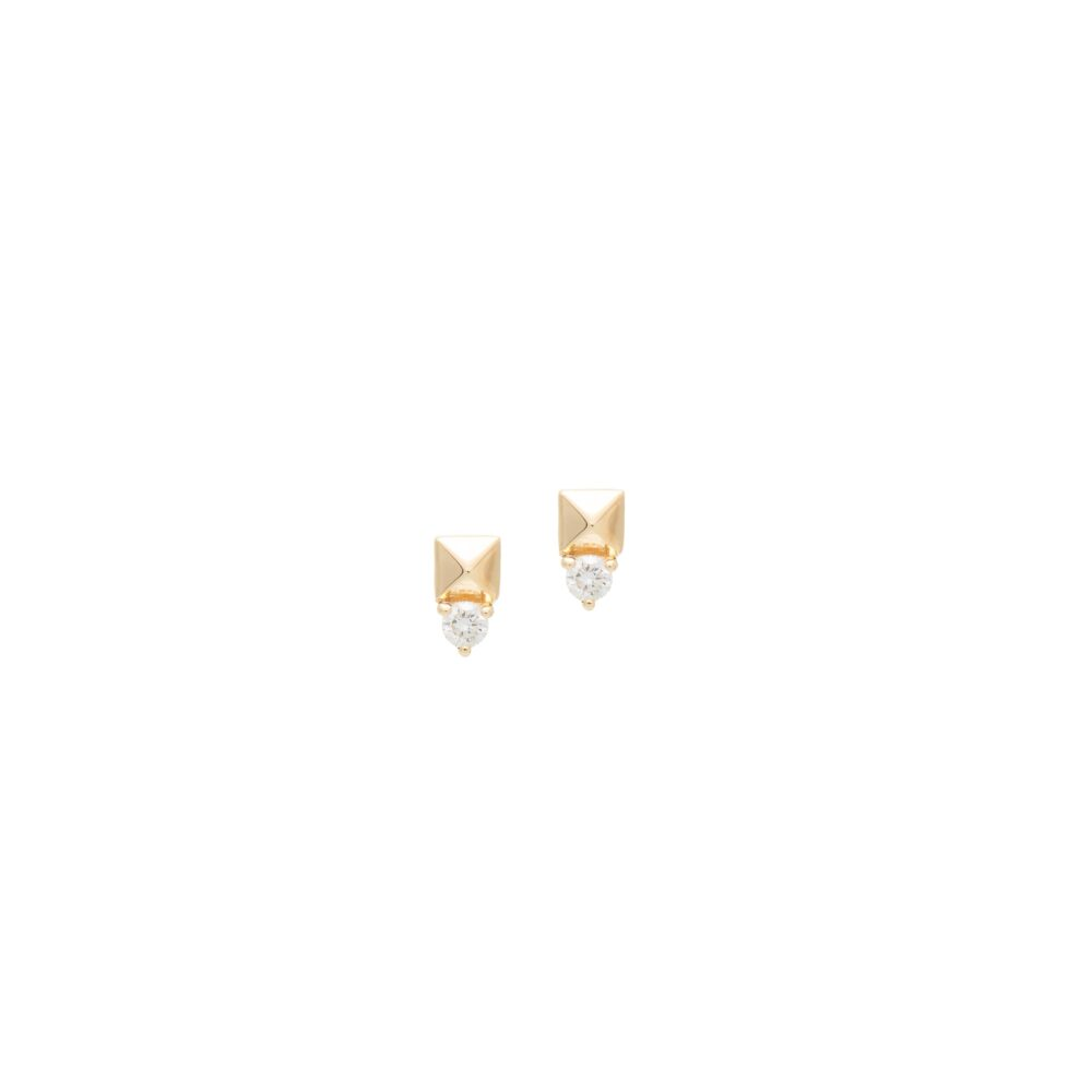 Mini Diamond Rock Stud Earring Yellow Gold