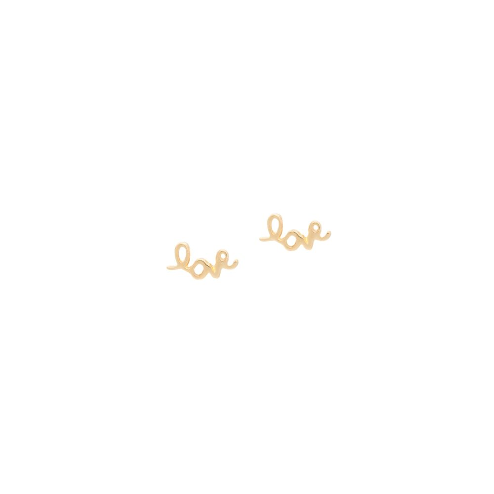 Mini Love Script Stud Earrings Yellow Gold