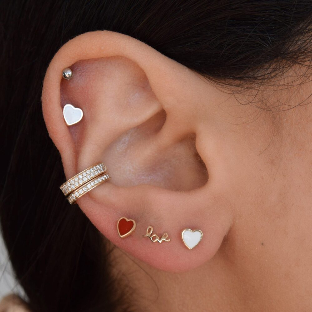 Mini Red Enamel Heart Earrings