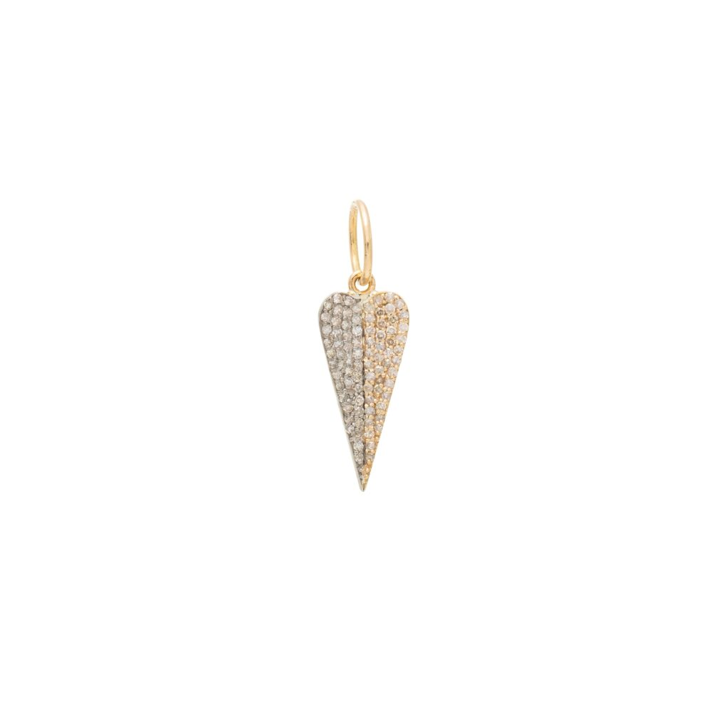 Oblong Diamond Heart Charm Silver and Yellow Gold