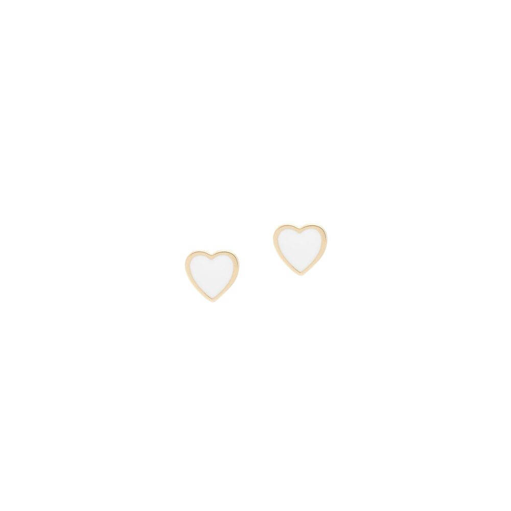 White Enamel Heart Earrings Yellow Gold