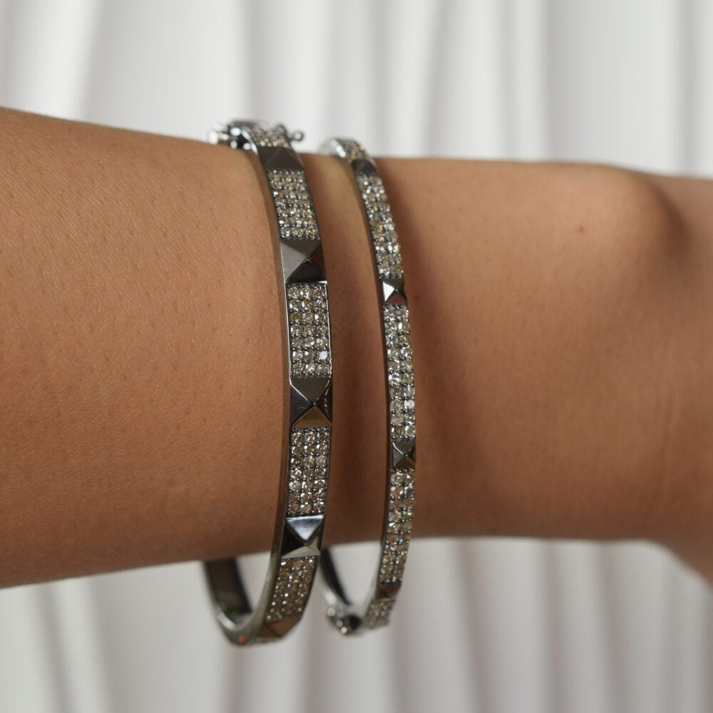 Wide Diamond Rock Studded Bangle