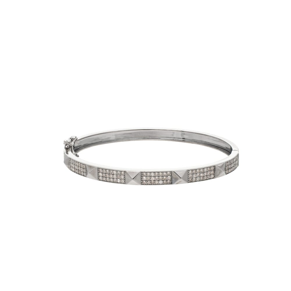 Wide Diamond Rock Studded Bangle Sterling Silver