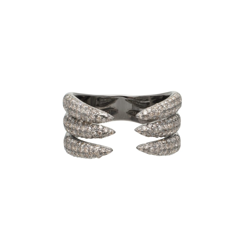 Diamond Claw Ring Sterling Silver