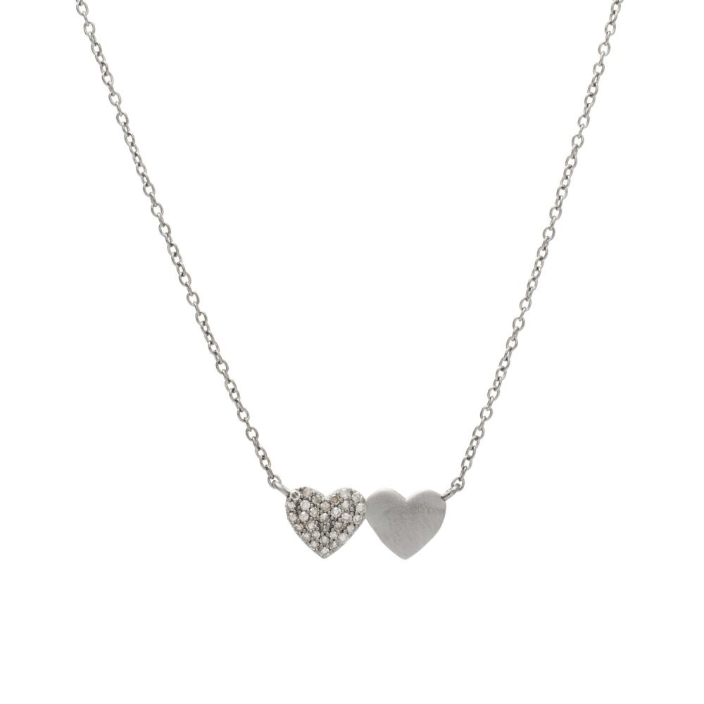 Diamond Double Heart Necklace Sterling Silver