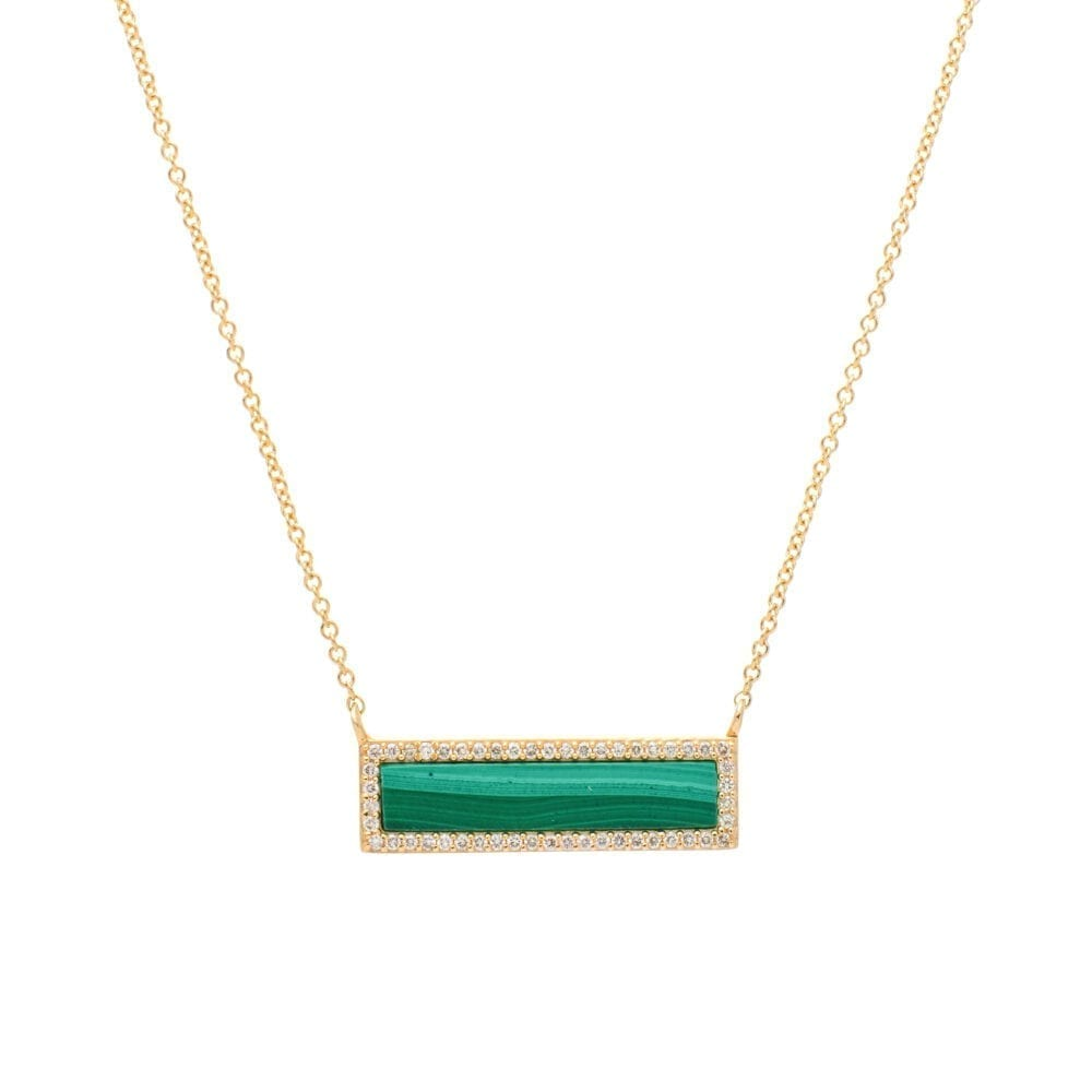 Diamond Malachite ID Necklace Yellow Gold