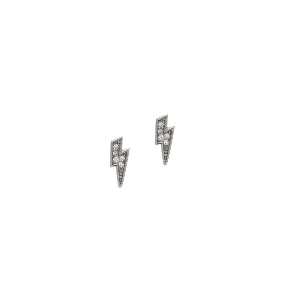 Diamond Mini Lightning Bolt Studs Sterling Silver