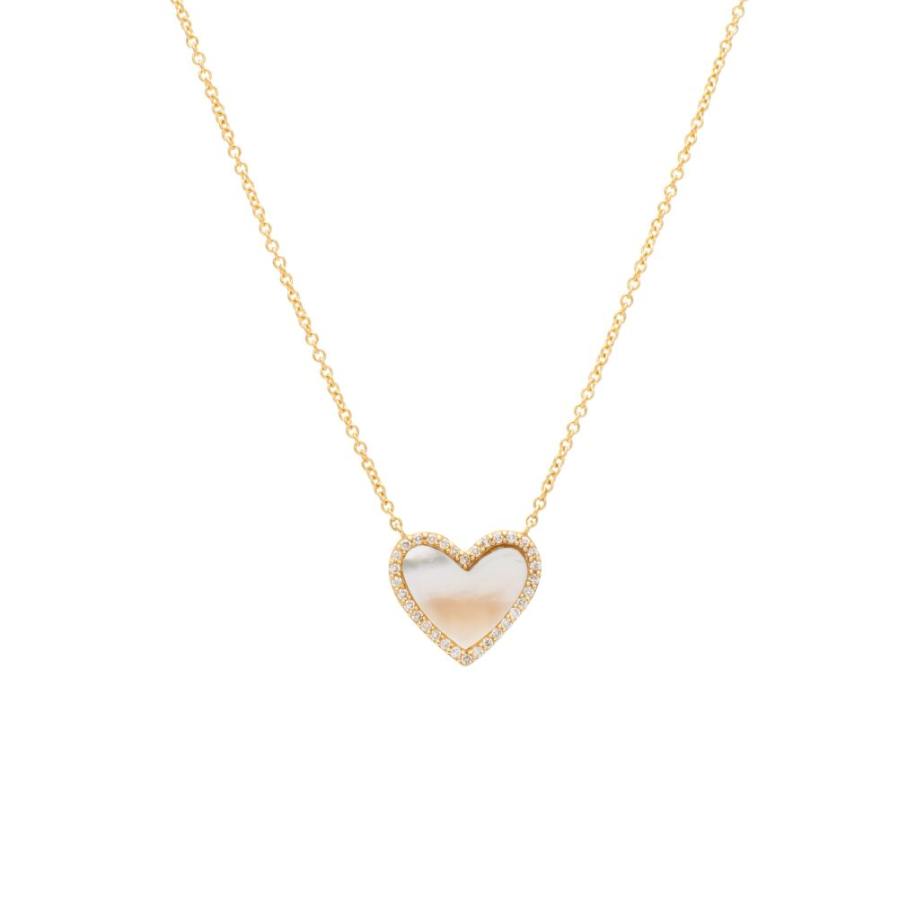 Diamond Mini Mother-of-Pearl Heart Necklace Yellow Gold