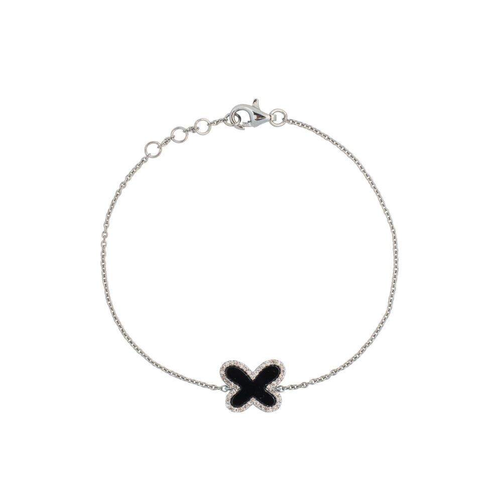 Diamond Mini Onyx Butterfly Bracelet Sterling Silver