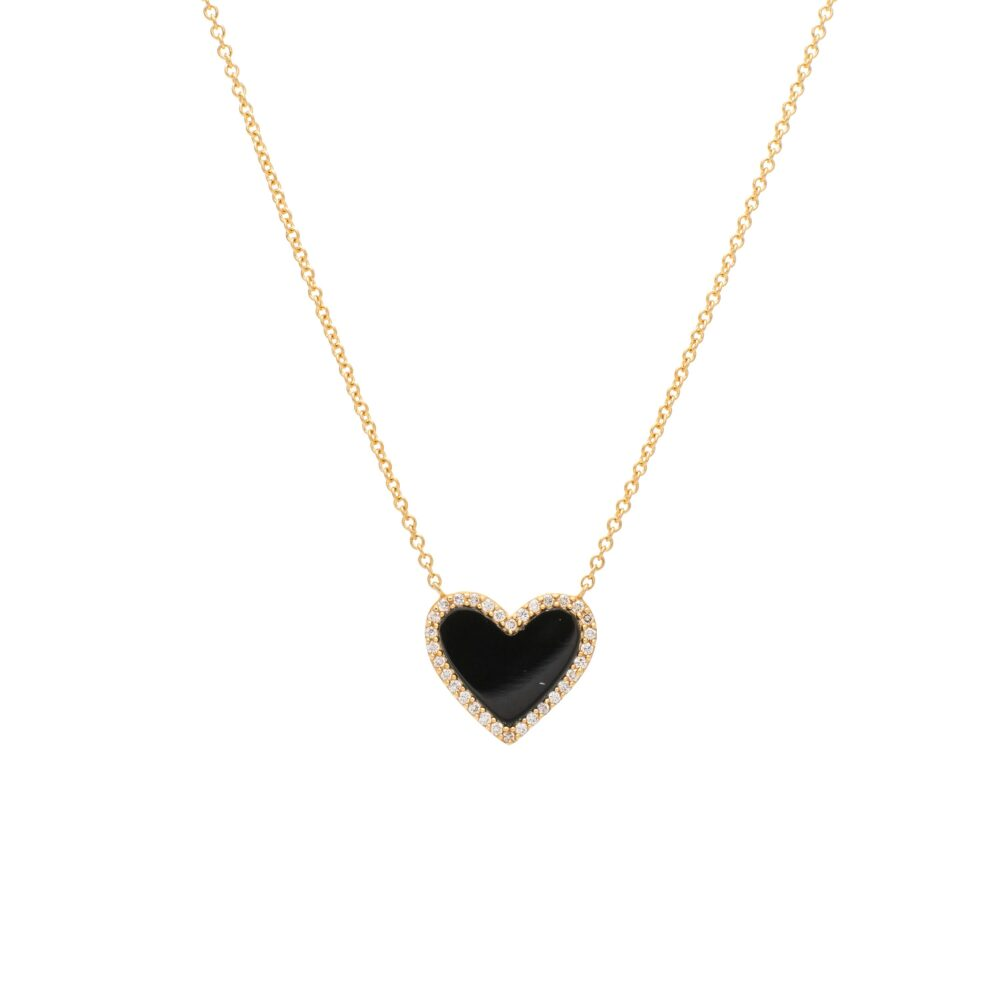 Diamond Mini Onyx Heart Necklace Yellow Gold