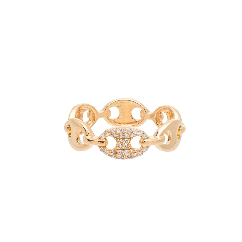 Diamond Oval Tri-Link Ring Yellow Gold