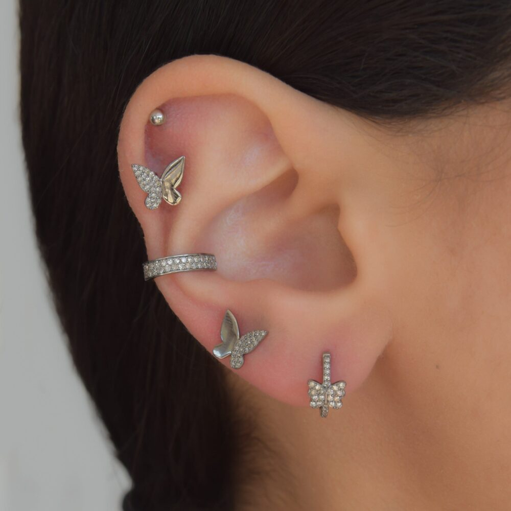 Diamond Silver Butterfly Earrings