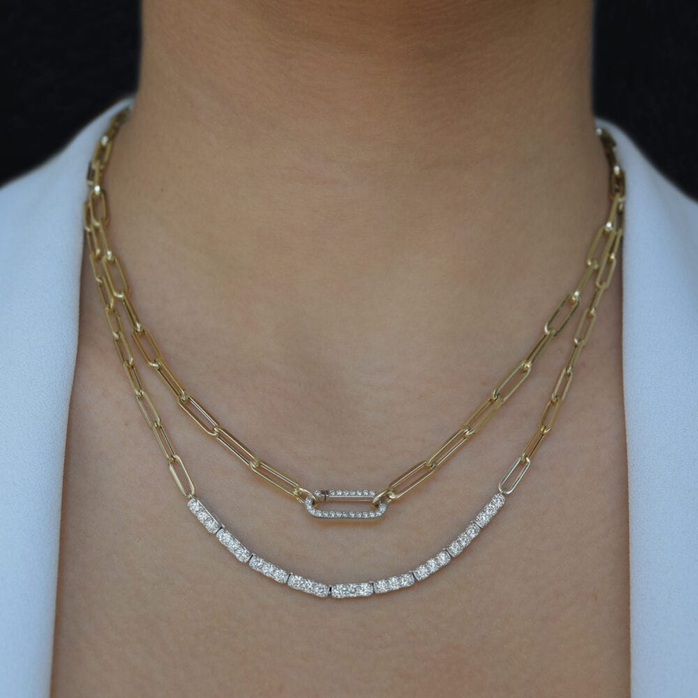 Diamond Tennis Chain Link Necklace Gold