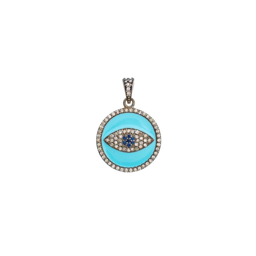 Diamond + Turquoise Enamel Evil Eye Disc Charm Sterling Silver