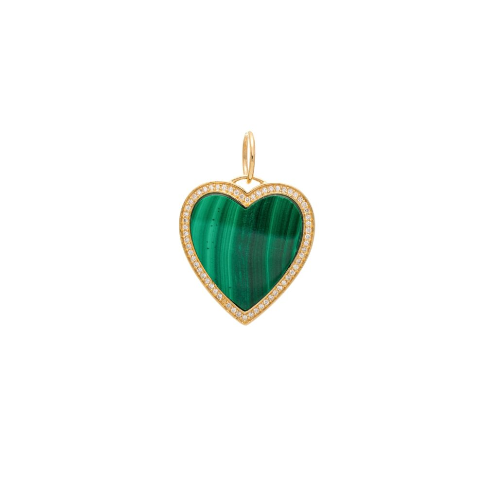 Malachite + Diamond Heart Charm Yellow Gold
