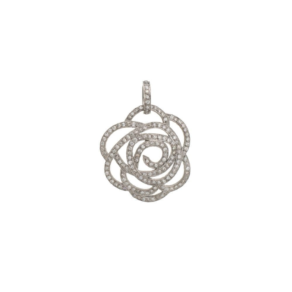 Medium Diamond Rose Pendant Sterling Silver
