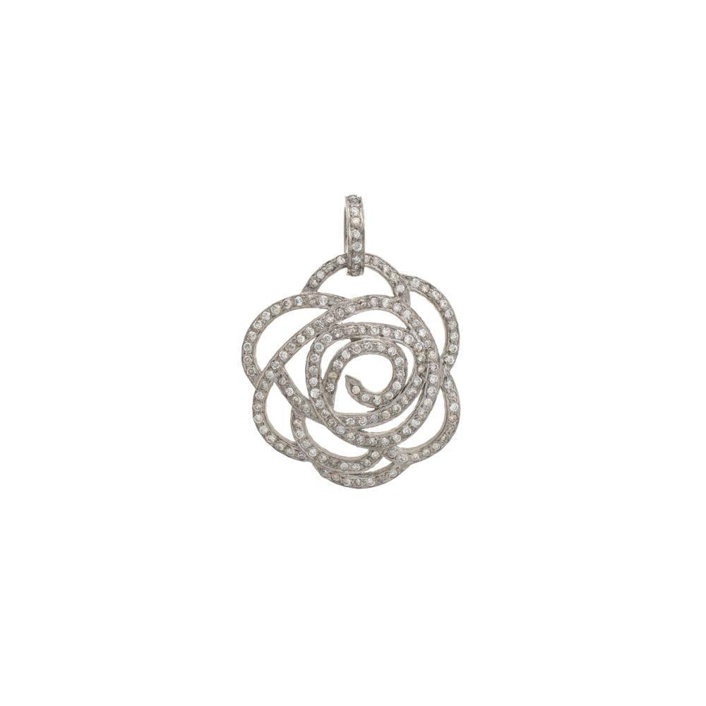 Medium Diamond Rose Pendant Sterling Silver