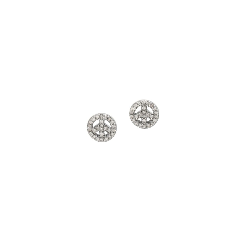 Mini Diamond Peace Sign Earrings Sterling Silver