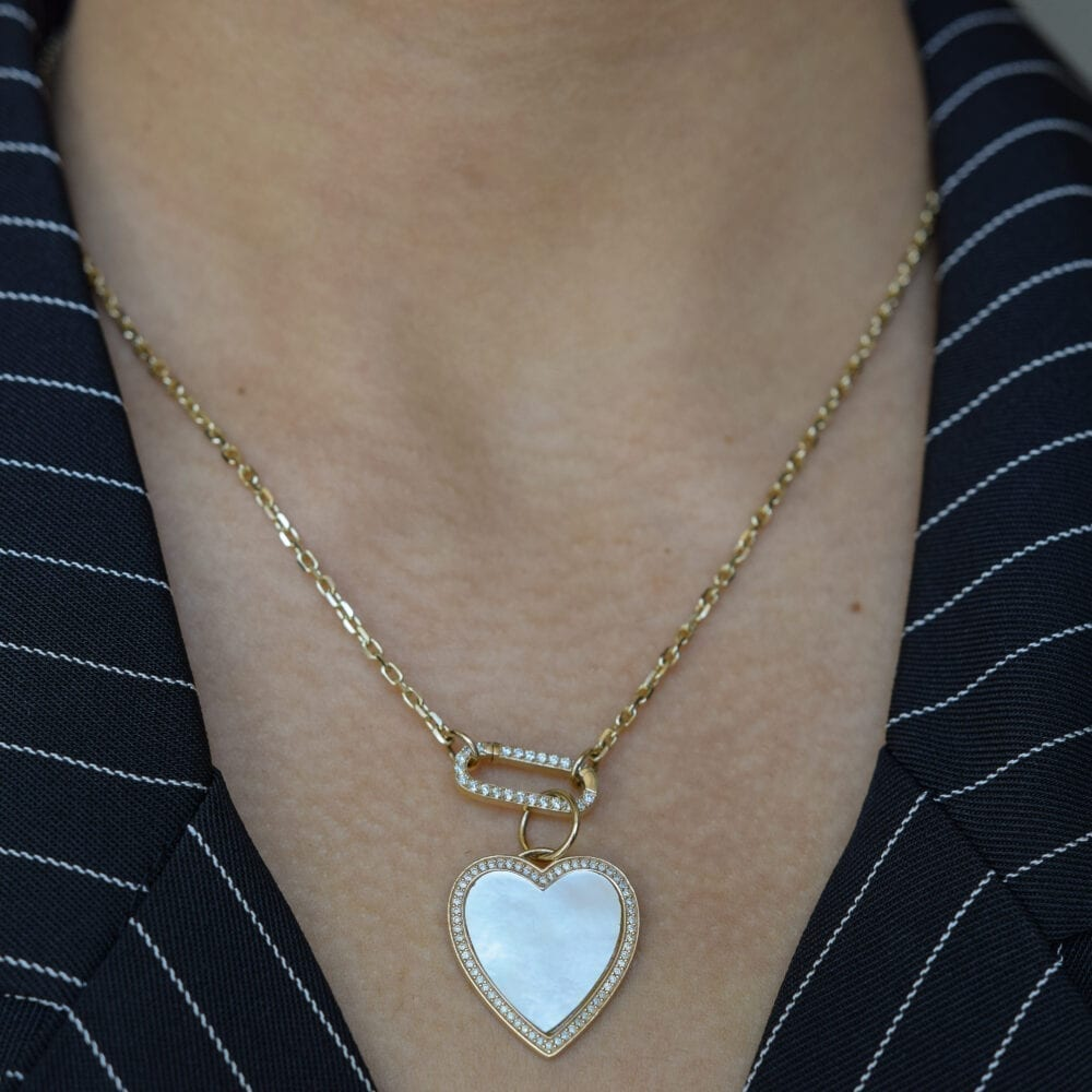 Mother-of-Pearl Diamond Heart Charm
