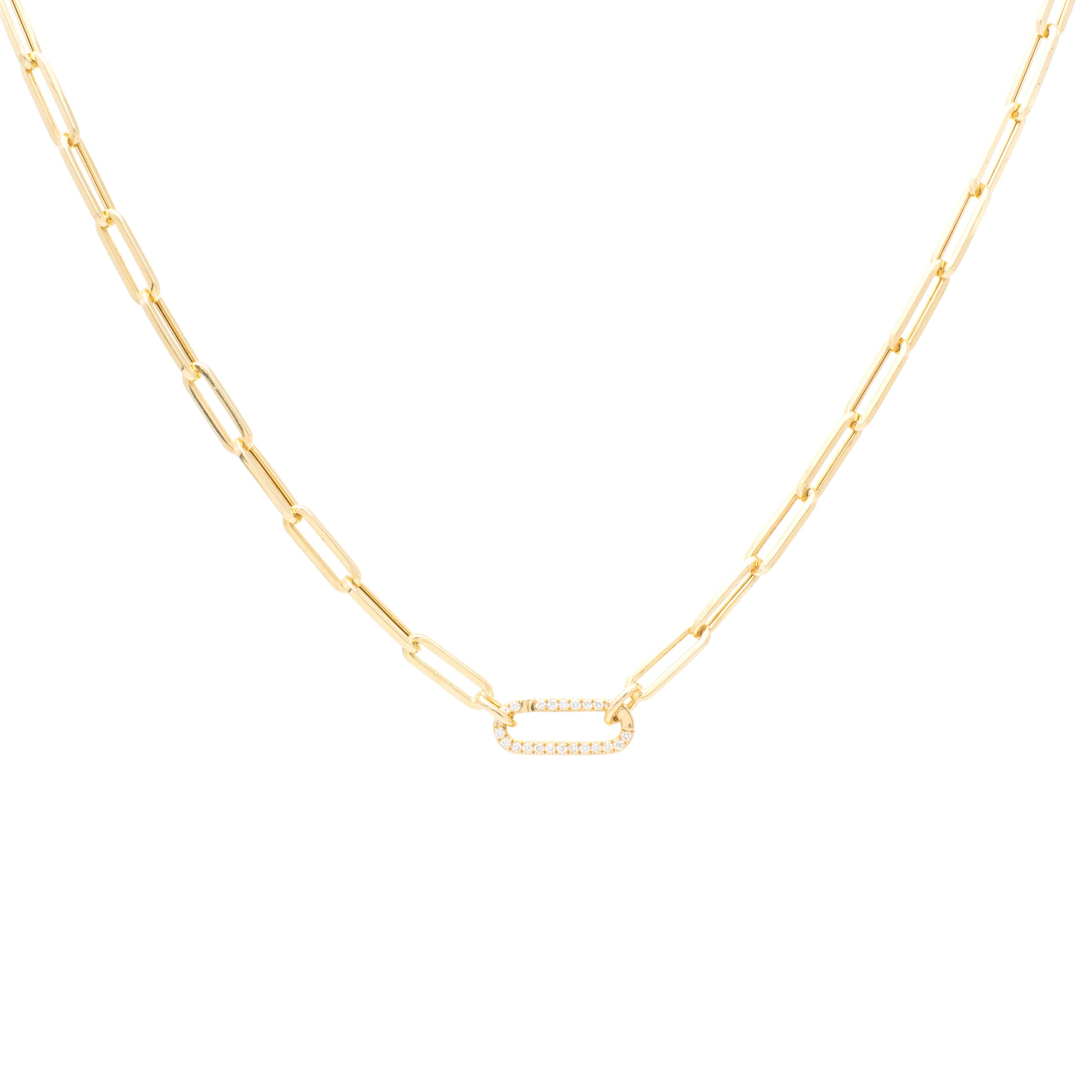 Small Chain Link Necklace + Mini Pave Diamond Gold Link Connector Clasp Yellow Gold