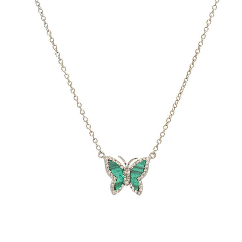 Small Diamond Malachite Butterfly Necklace Sterling Silver