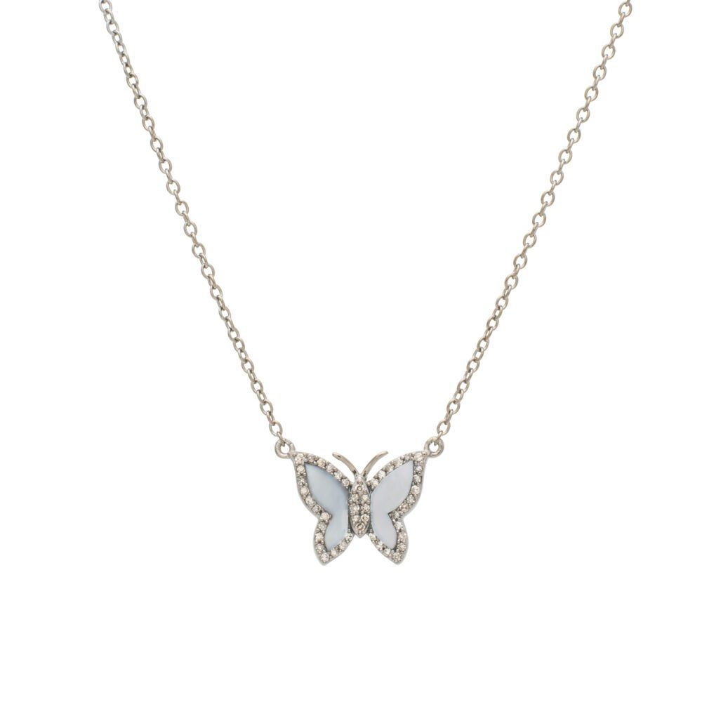 Small Diamond Mother-of-Pearl Butterfly Necklace Sterling Silver