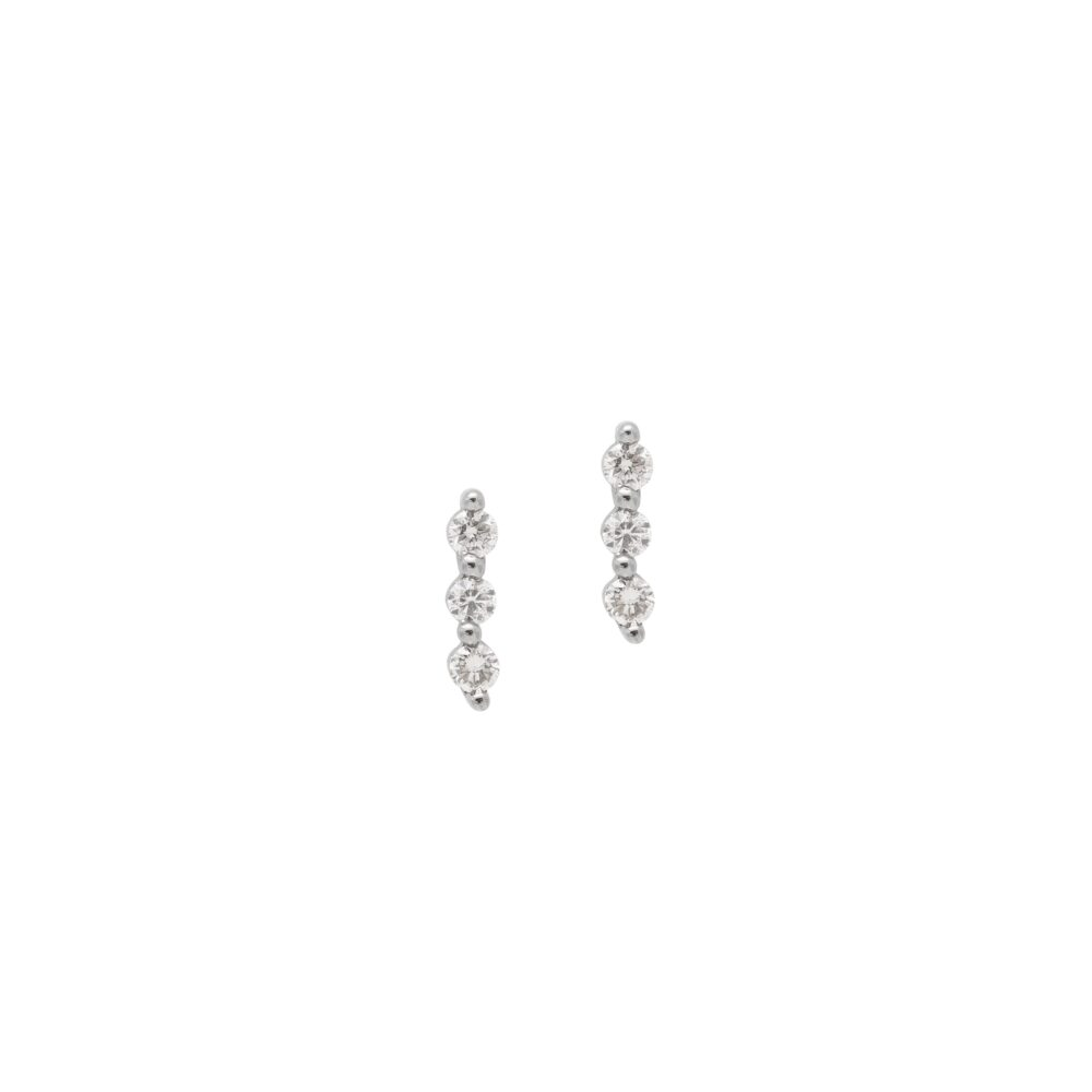Triple Diamond Earrings Sterling Silver
