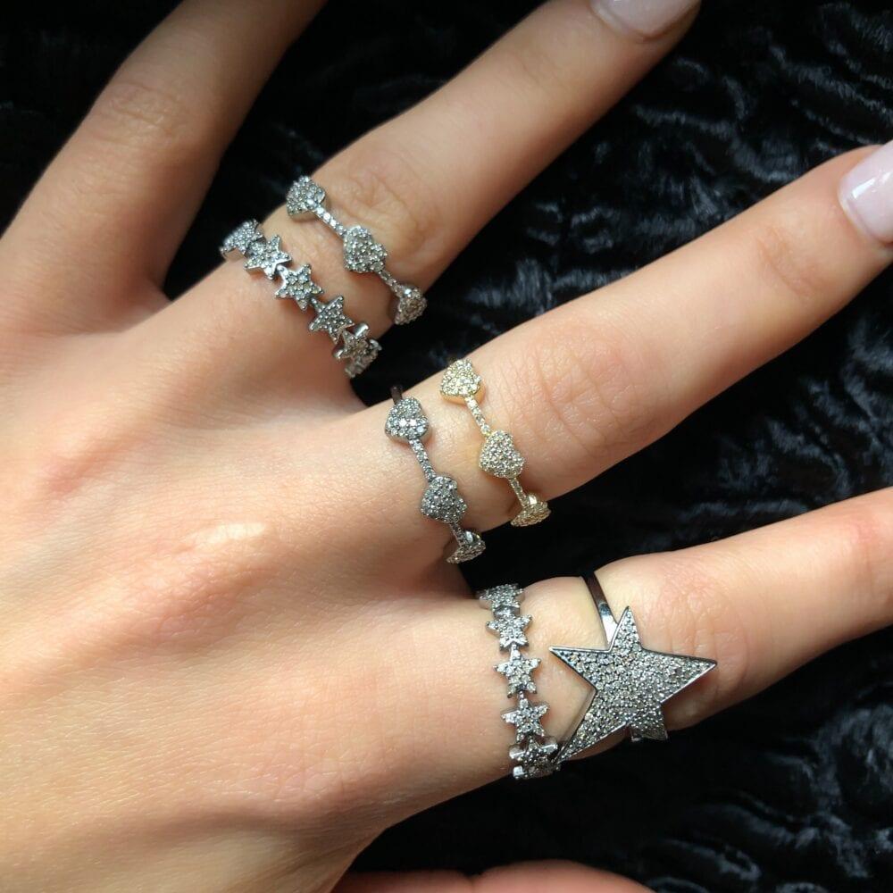 Asymmetrical Star Ring Silver