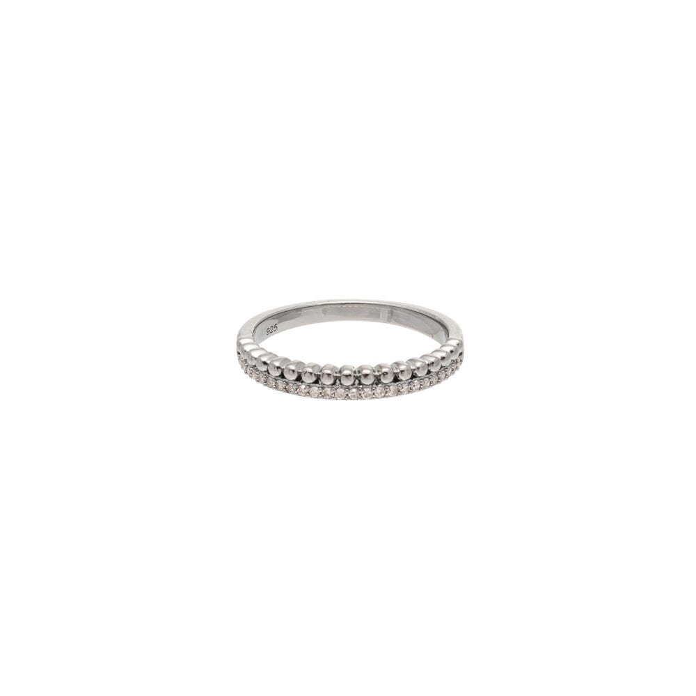 Diamond + Beaded Ball Ring Sterling Silver
