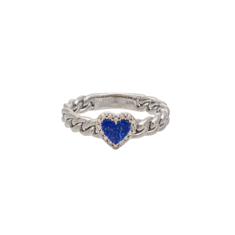 Diamond + Lapis Heart Curb Chain Hard Link Ring Sterling Silver