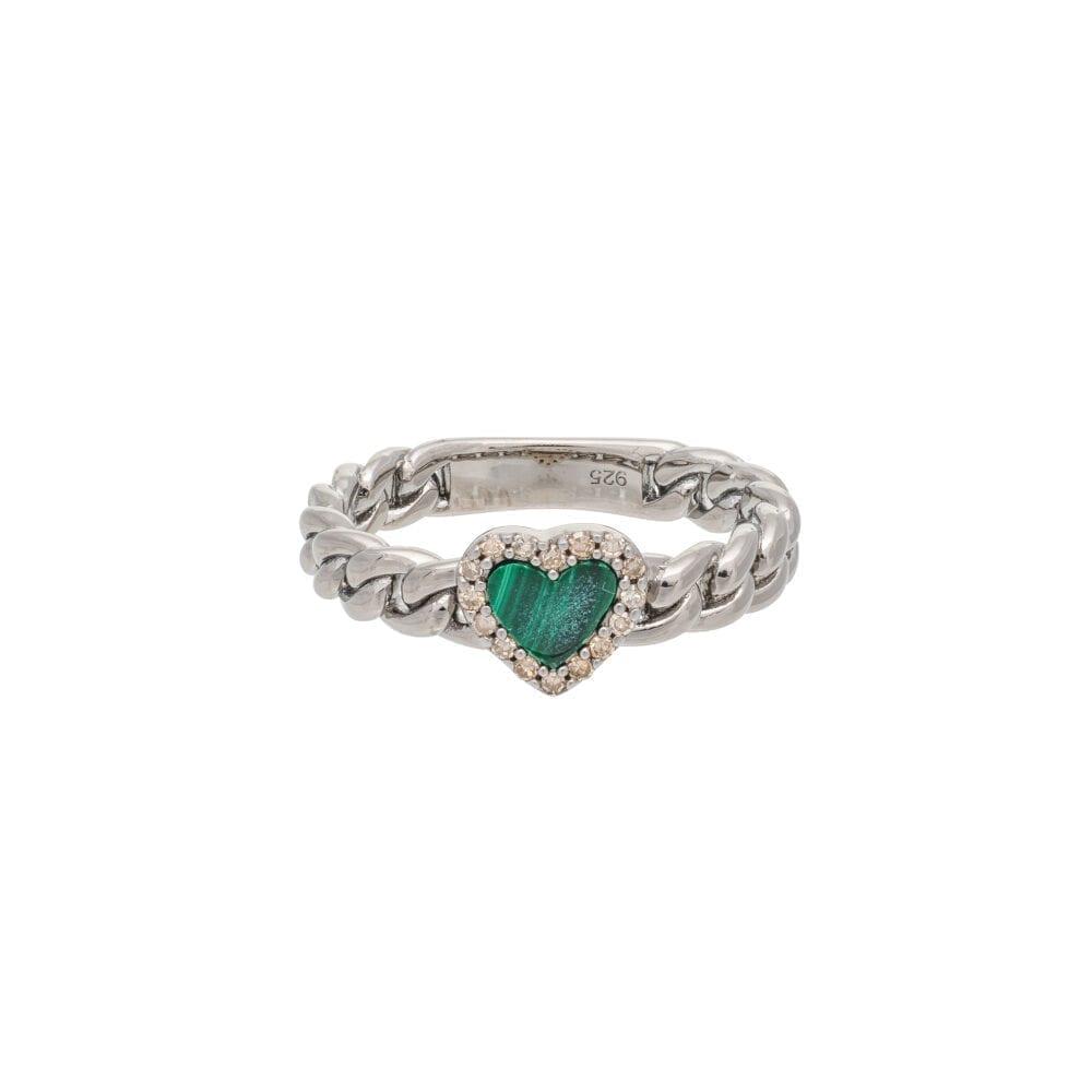 Diamond + Malachite Heart Curb Chain Hard Link Ring Sterling Silver