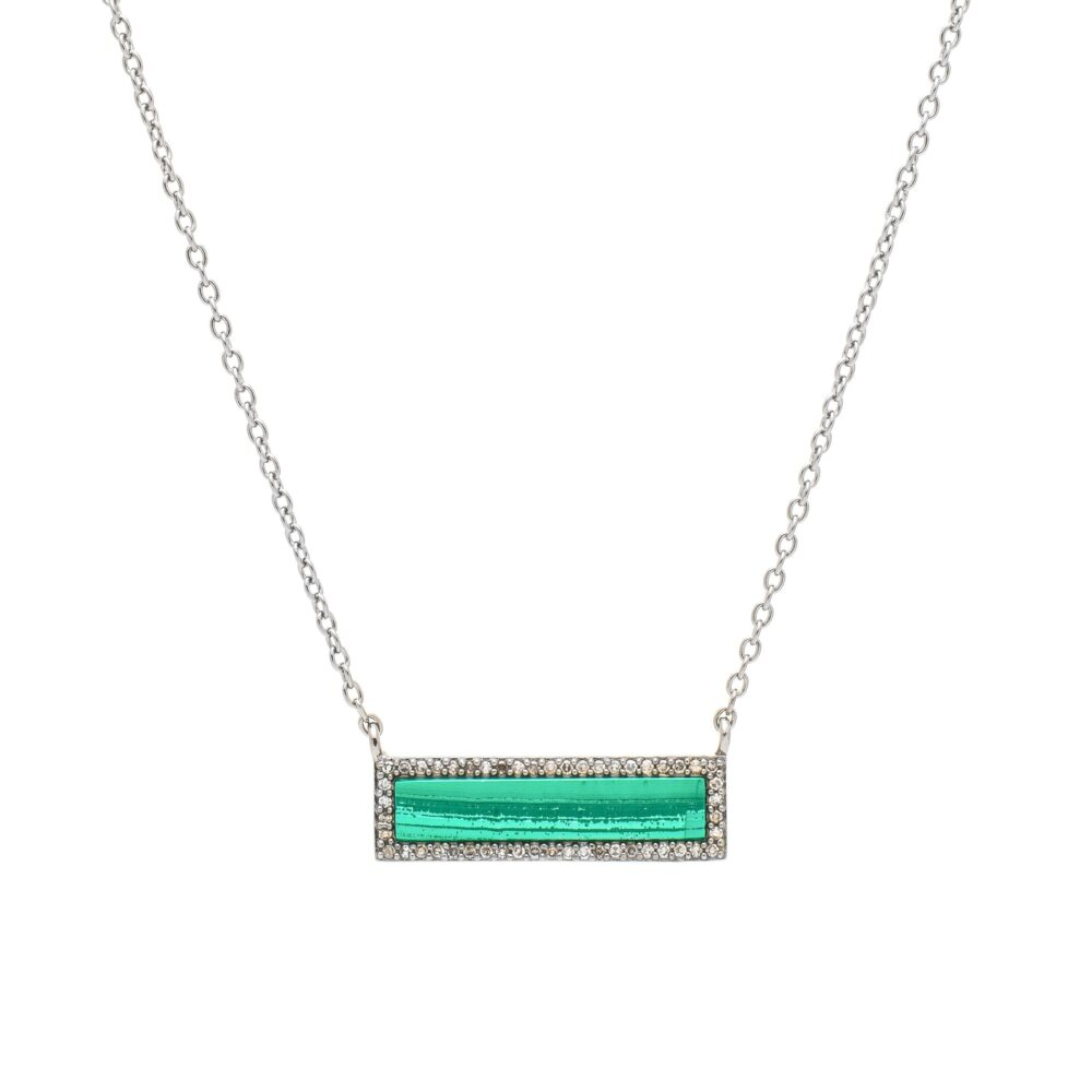 Diamond Malachite ID Necklace Silver