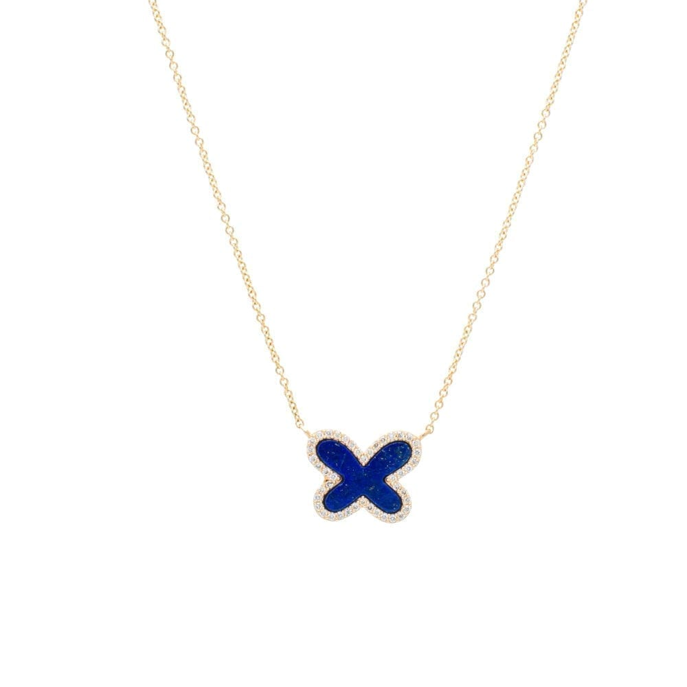 Diamond Mini Lapis Butterfly Necklace Yellow Gold