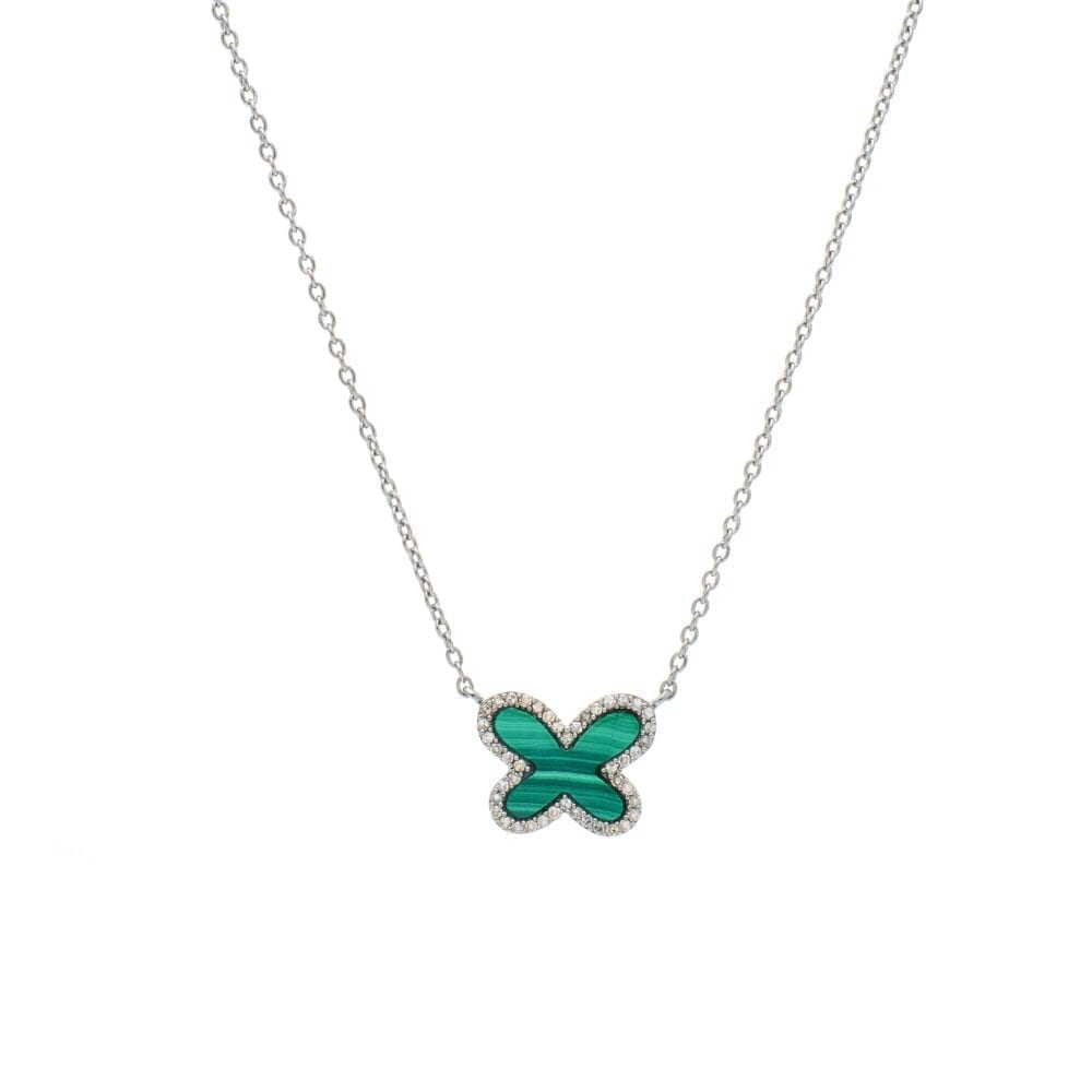 Diamond Mini Malachite Butterfly Necklace Sterling Silver